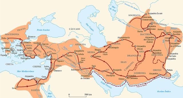Mapa koja pokazuje pohode i put kojim je prošao Aleksandar Makedonski.