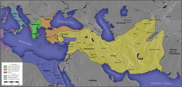 Mapa seleukidskog carstva koje se prostiralo od Indije na istoku, pa sve do Palestine na zapadu.