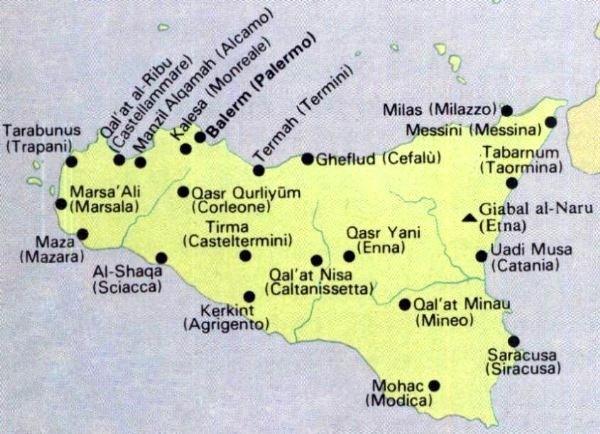 Mapa Sicilije i imena gradova, regija, koje su zapravo današnje izvedenice od nekadašnjih arapskih naziva