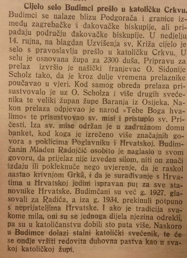 Članak iz Katoličkog lista o prijelazu čitavog sela s pravoslavlja, uz klicanje Anti Paveliću. Država je tražila da se vjerski prijelazi ubrzaju i opominjala svećensto da ne smije tražiti novac od prijelaznika mimo zakonom propisanih taksi, više puta