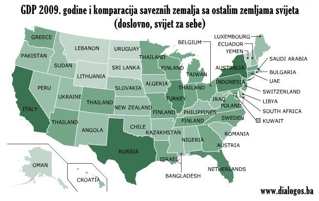 GDP saveznih američkih država i poređenje sa ostatkom svijeta.