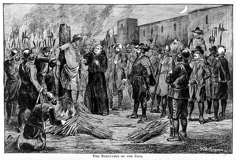 Spaljivanje na lomači posljednjeg vladara Inka Athapule, godine 1533.