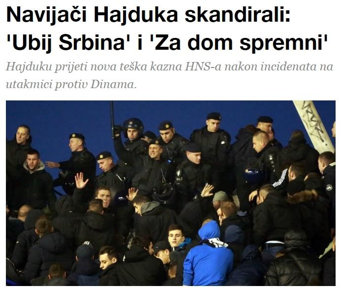 Na derbiju između Hajduka i Dinama, decembra 2016. Ništa novo u zemlji Hrvatskoj.