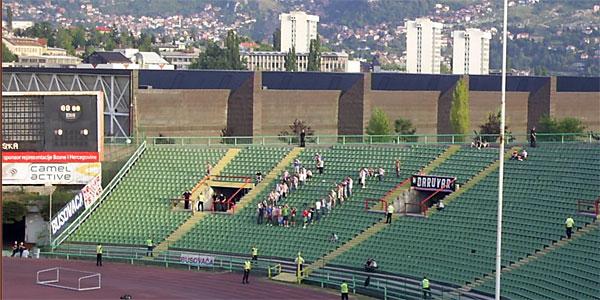 Hrvatski navijači na utakmici BiH i Hrvatske, na Koševu 2007.