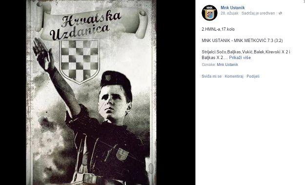 Ustaški malonogometni klub Ustanik, koji igra 2. malonogometnu ligu, bez kamufliranja, otvoreno.