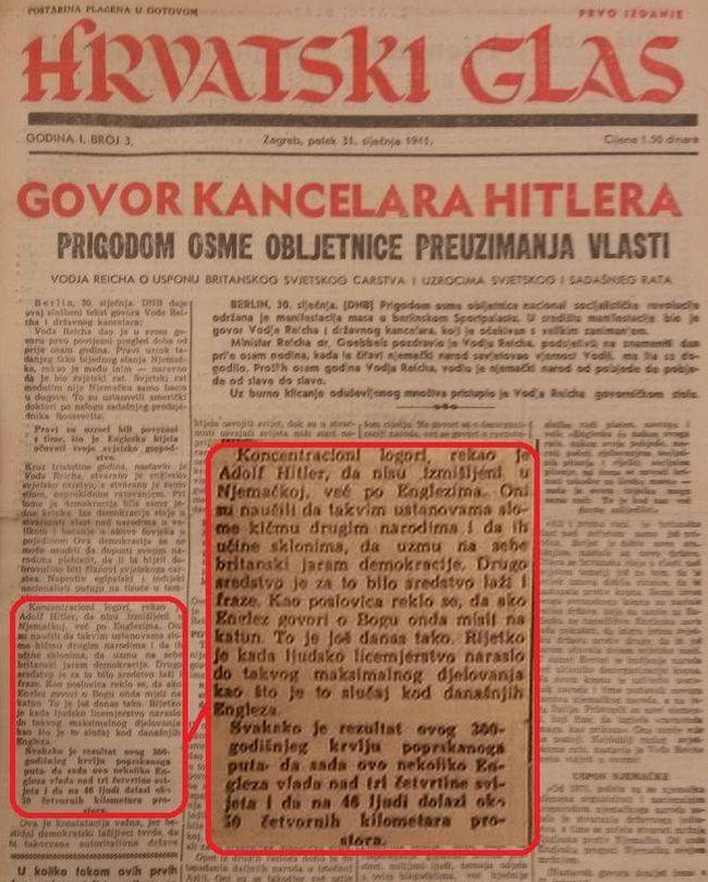 Hrvatski glas imao je redakciju na Kaptolu 27, gdje je bilo i sjedište Katoličkog lista. O koncentracionim logorima, prije uspostave NDH, pisali su, ali na ovaj način - o žrtvama logorima ni slova.