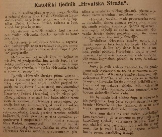 Katolički list preporučuje čitanje Hrvatske straže, tjednika koji tijekom cijele 1942. godine nije imao Hitlera, Pavelića ili Mussolinija na svega - tri naslovnice