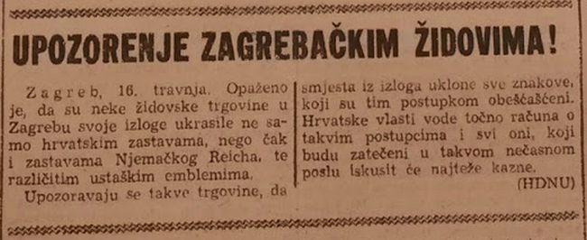 Upozorenje židovima objavljeno u Hrvatskom glasu, koji je o židovima kao i ostatak katoličkog tiska uz rijetke iznimke često pisao govorom mržnje, prije svega ih označavajući kao masone i širitelje komunizma